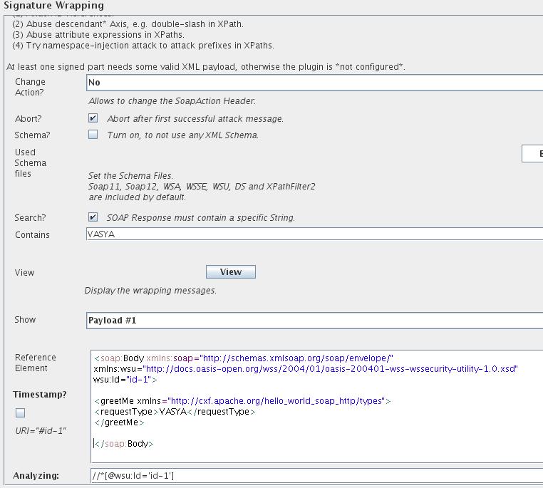 Рис. 2. Пример настроек. Меняем Payload, сменив имя в запросе с Anne на Vasya. Добавляем поиск в ответе слова Vasya