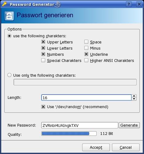В KeePassX есть свой генератор паролей