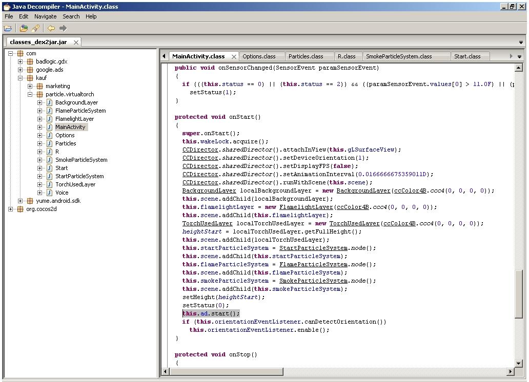 Поиск кода рекламы в jd-gui