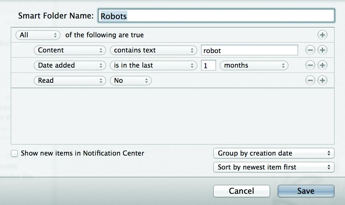 Задав такие правила вReadKit, можно смотреть, что писали про роботов запоследний месяц