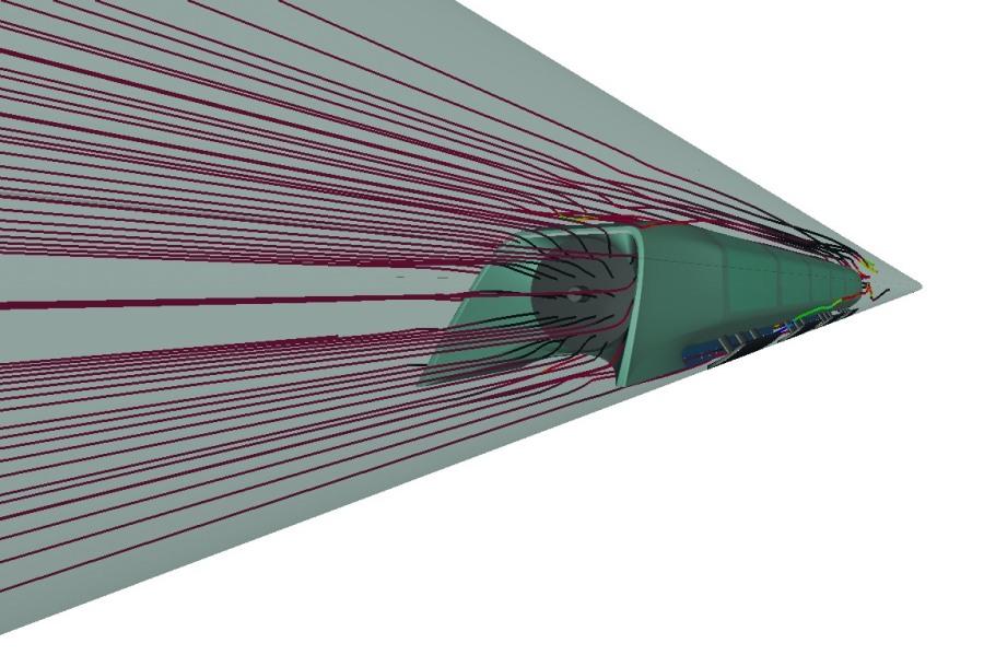 Рис. 2. Расчет обтекания капсулы воздухом с втягиванием через компрессор на скорости, близкой к скорости звука