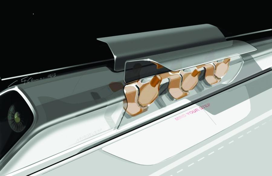 Рендеринг концептуального дизайна транспортной капсулы с открытыми дверями на станции
