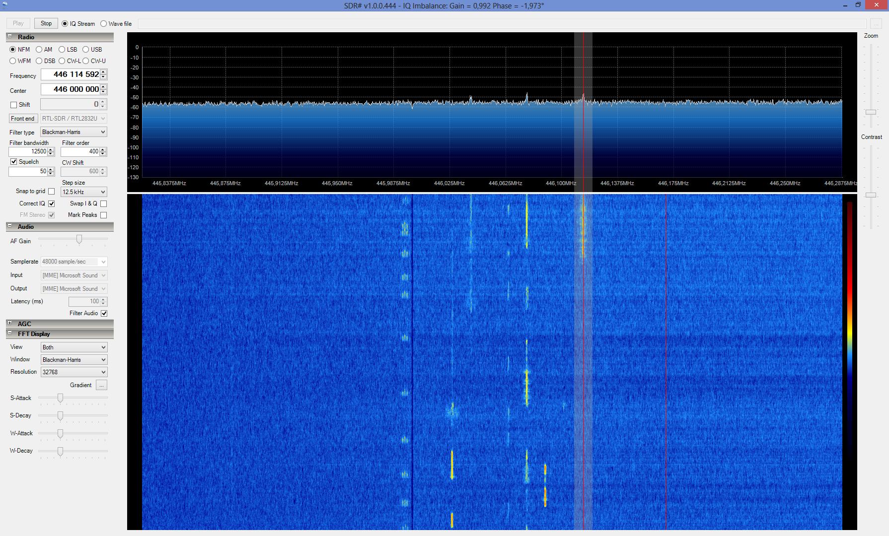 Прием переговоров по рации на частоте 446 МГц в SDRSharp
