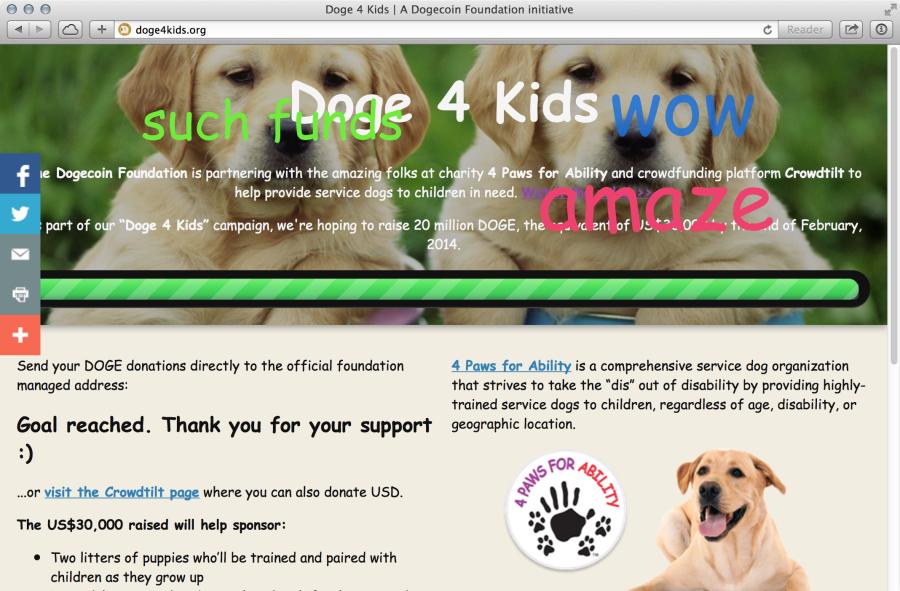 Сайт doge4kids.org празднует успешный сбор денег на закупку щенков