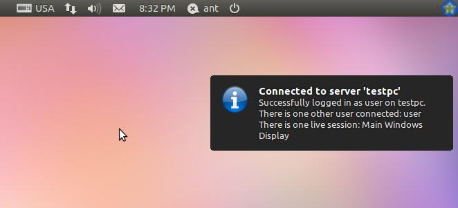 Сообщение, свидетельствующее об успешном соединении с удаленной Windows-машиной