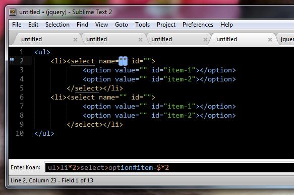 Zen Coding в действии
