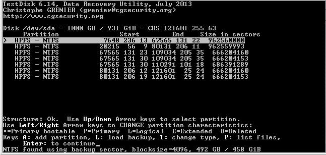 Рис. 6. Восстанавливаем поврежденные разделы с помощью TestDisk