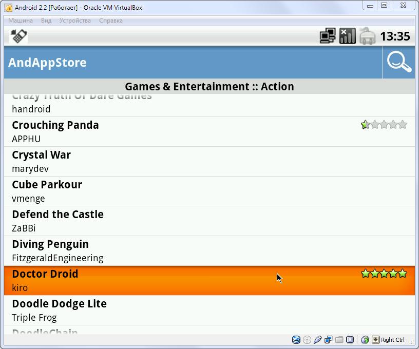 Установка приложений с помощью AndAppStore