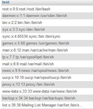 Содержимое файла /etc/passwd в таблице test
