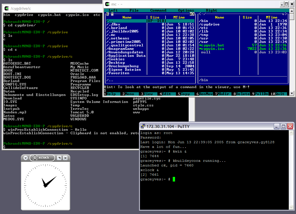 Cygwin с запущенным xclock и Midnight Commander
