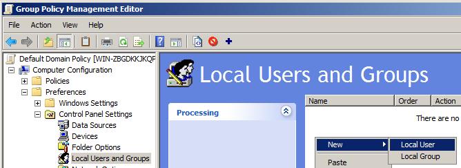 Файл с групповой политикой для создания пользователя