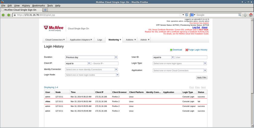 Пример вставки произвольного HTML-кода при неправильной аутентификации в McAfee Asset Manager