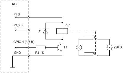 Рис. 3. Принципиальная схема модуля подключения реле