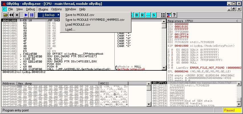 Ollydbg-backup. Бэкап служебной информации в CSV-файл