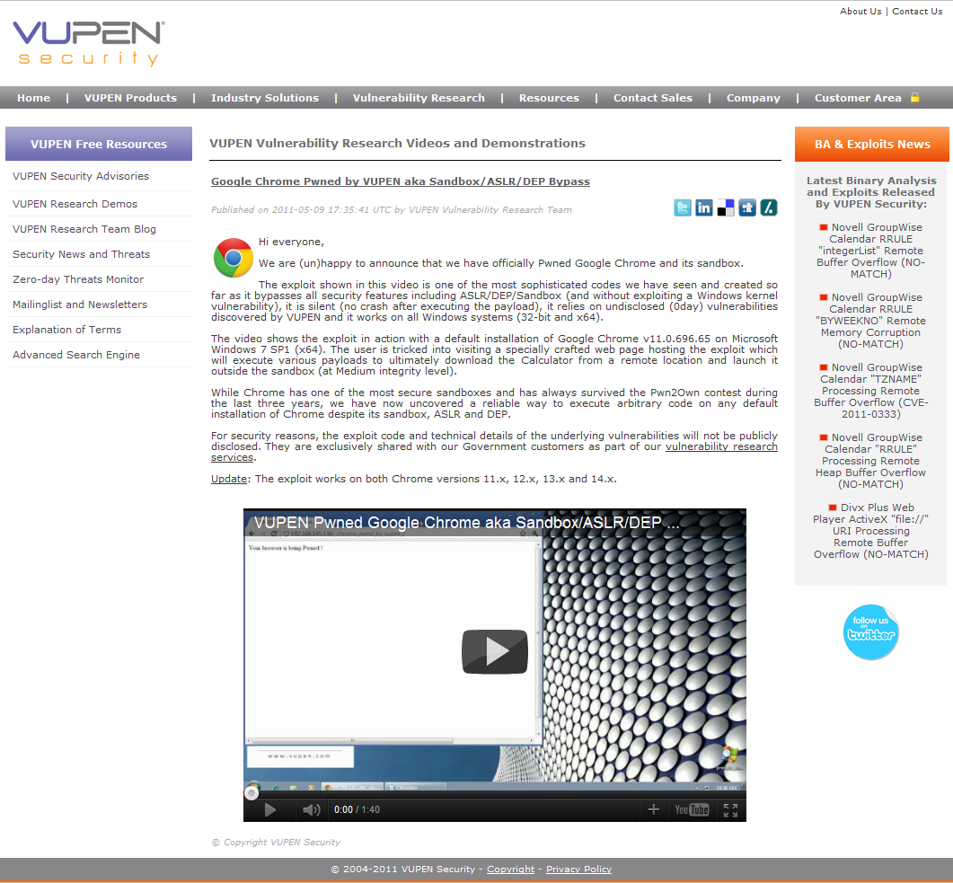 Vupen демонстрирует эксплойт для Google Chrome