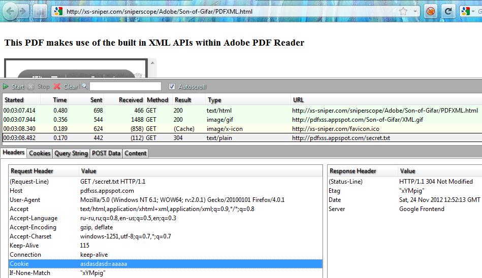 Рис. 3. PDF'ка делает запрос и получает ответ, необходимые куки добавляет браузер