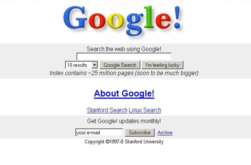 Так выглядела главная страница Google в 1998 году