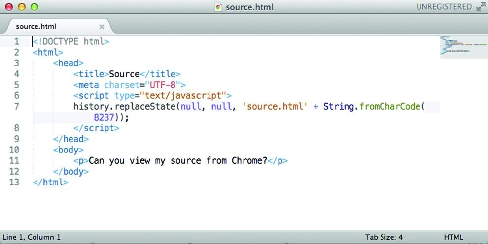 Исходный код страницы source.html, реализующей спуфинг