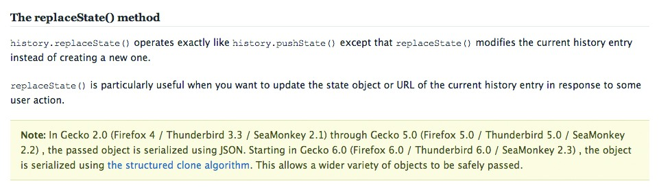 Описание history.replaceState() от Mozilla