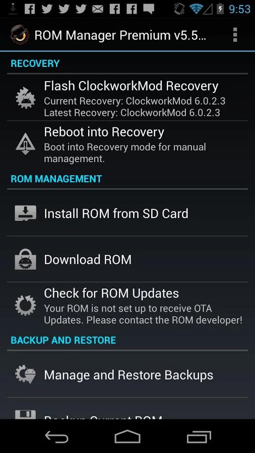 ROM Manager позволяет установить recovery в два тапа
