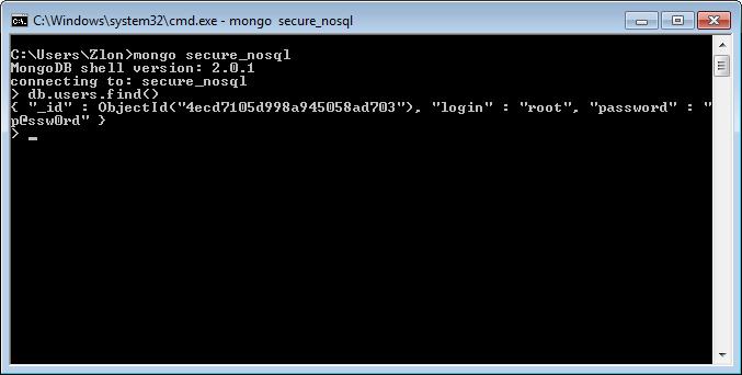 Mongo — стандартный клиент MongoDB