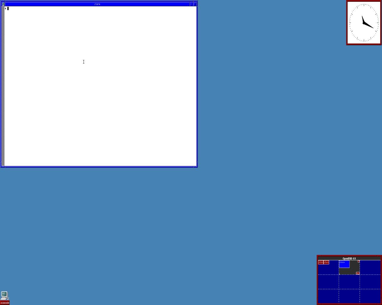 Так по умолчанию выглядит рабочий стол OpenBSD