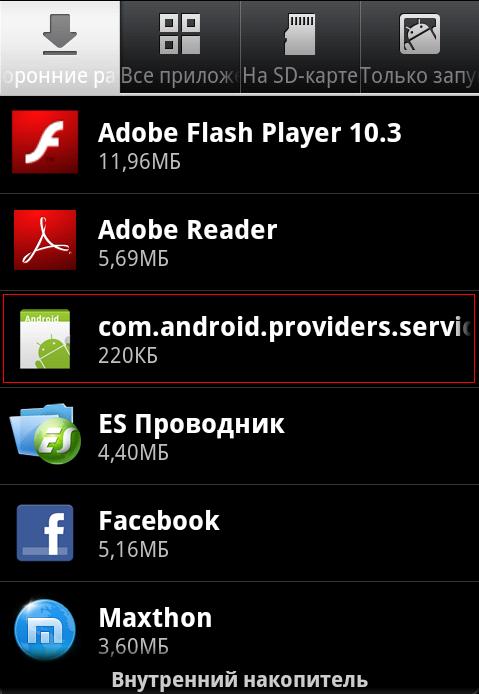 Малварь в диспетчере приложений Android