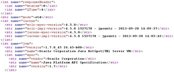 Информация об атакуемом Solr-сервере