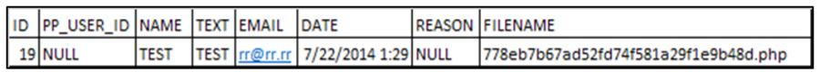 Рис. 7. Запись в таблице feedback с именем файла, отправленного на сервер вместе с фидбэком пользователя