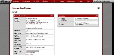 pfSense Dashboard. Здесь можно видеть статус основных служб