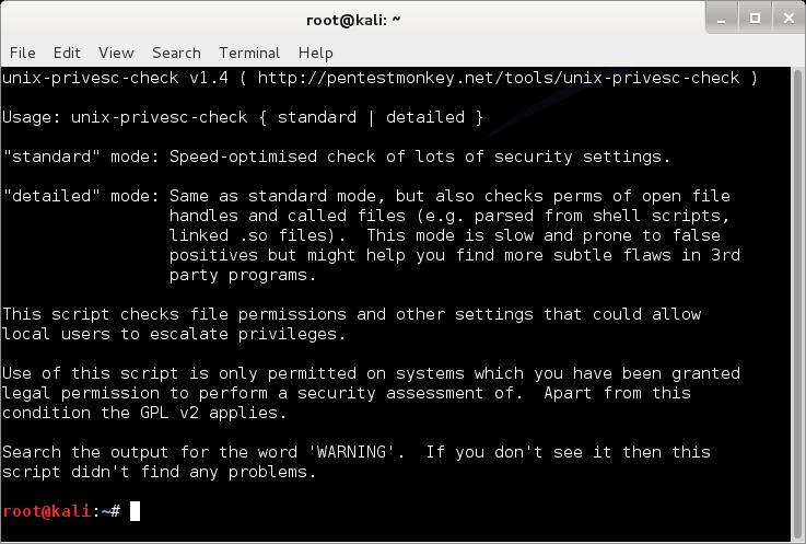 unix-privesc-check предлагает на выбор всего две опции