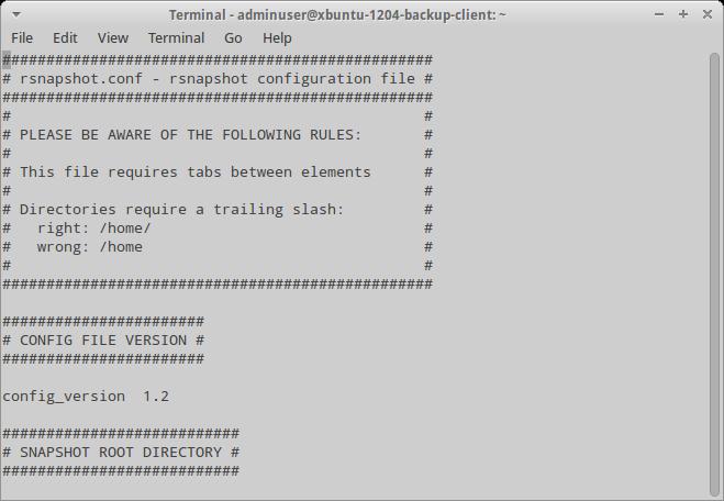 Конфигурационный файл rsnapshot