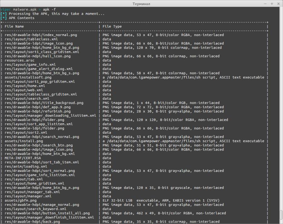 Список и тип файлов из Android-приложения