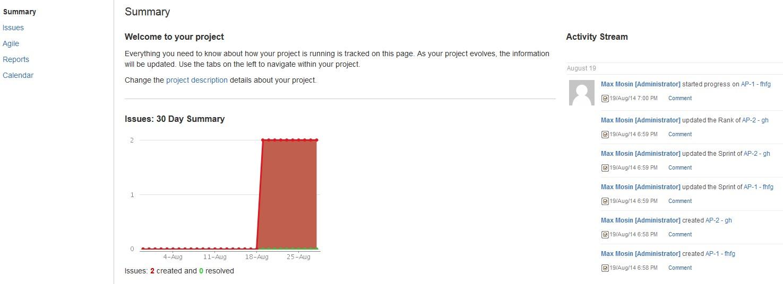 Статистика проекта в JIRA Agile