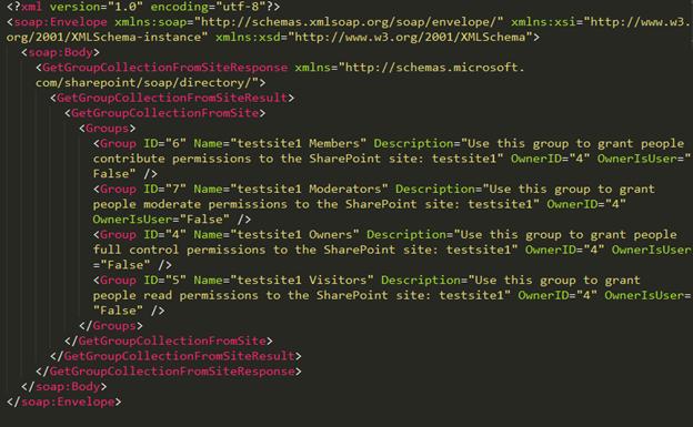 Рис. 8. XML-документ, содержащий список групп