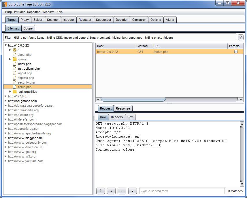 Общий вид карты веб-приложения через Burp Suite