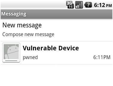 Полученная SMS, которая была отправлена с помощью JavaScript-кода