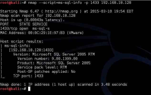 Рис. 1.Скaнирование MS SQL при помощи Nmap