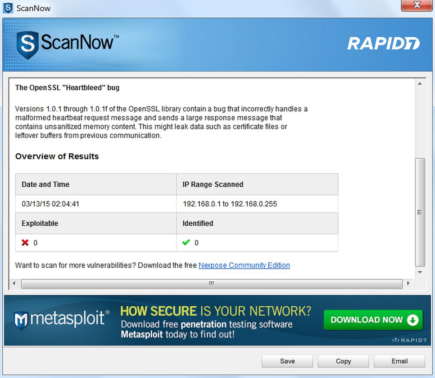 Результаты проверки ScanNow и реклама более продвинутого сканера