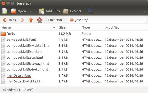 Список дополнительных файлов из Zoho Mail