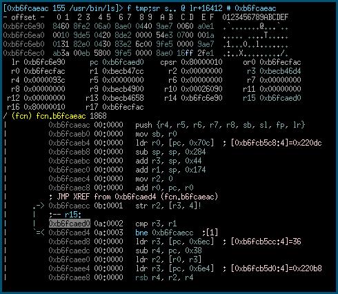 Визуальный режим отладки в Radare2