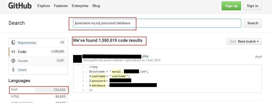 Рис. 2. Наглядные результаты по поиску кредов MySQL на GitHub