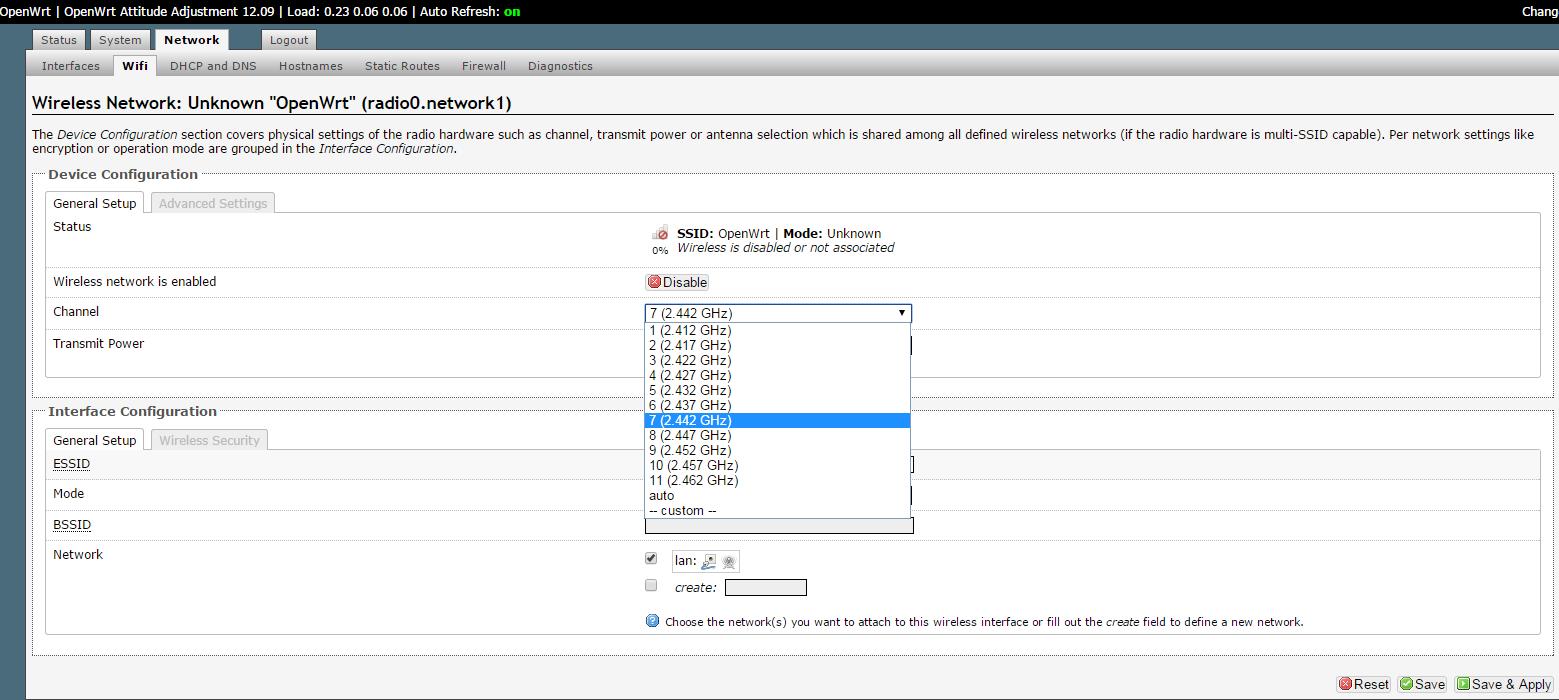 Рис. 6. Удобный веб-интерфейс OpenWRT с базовыми настройками
