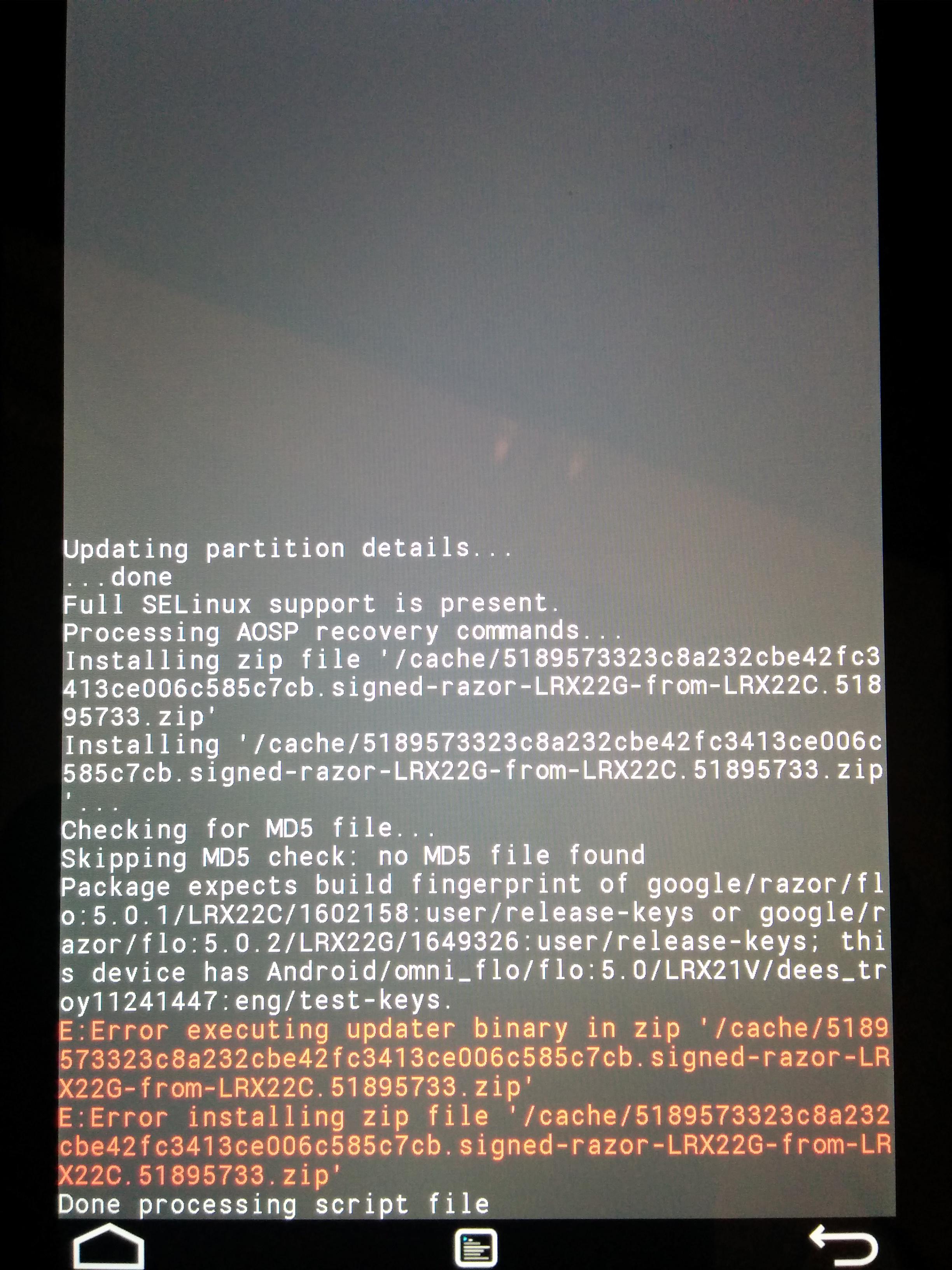Вот какой ответ ты получишь при попытке установить обновление 5.0.2 на Nexus 7 из кастомного recovery
