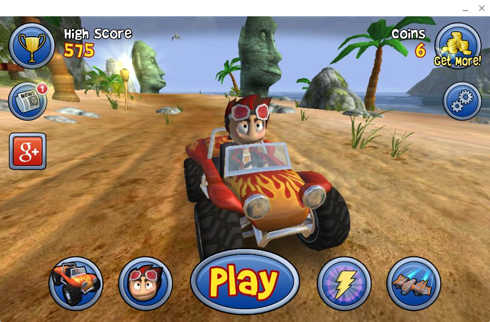 Судя по Beach Buggy Blitz, проблем с трехмерной графикой нет, а вот нарисованные на экране педали непригодны при управлении мышкой