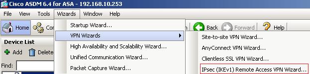 Рис. 1. Cisco ASDM VPN Wizard