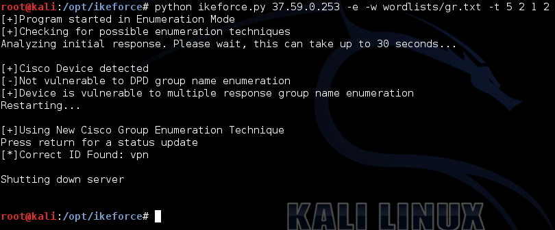 Рис. 7. IKEForce enumeration
