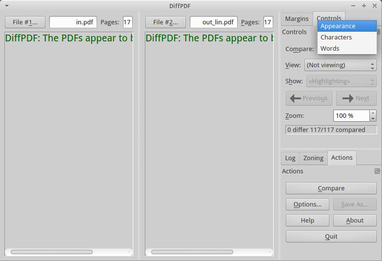Сравнение документов в diffpdf