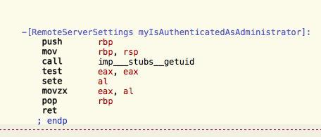 Рис. 10. Проверка администратора из systemsetup в OS X